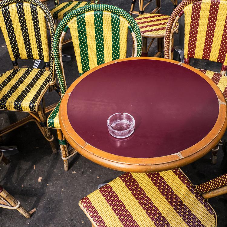 Fine Art photograph striped sidewalk café chairs Paris France
