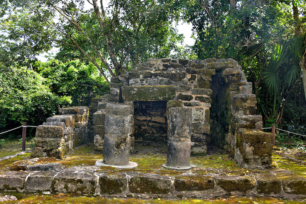 Chichan Nah at San Gervasio near San Miguel, Cozumel, Mexico<br /> Chichan Nah is well named.  It translates into Small House and is the littlest of the excavated ruins at San Gervasio.  Archeologists believe it was built during the Post Classic period as the Mayan king&rsquo;s private chapel called an oratorio.  Rituals were probably conducted on the altar inside.