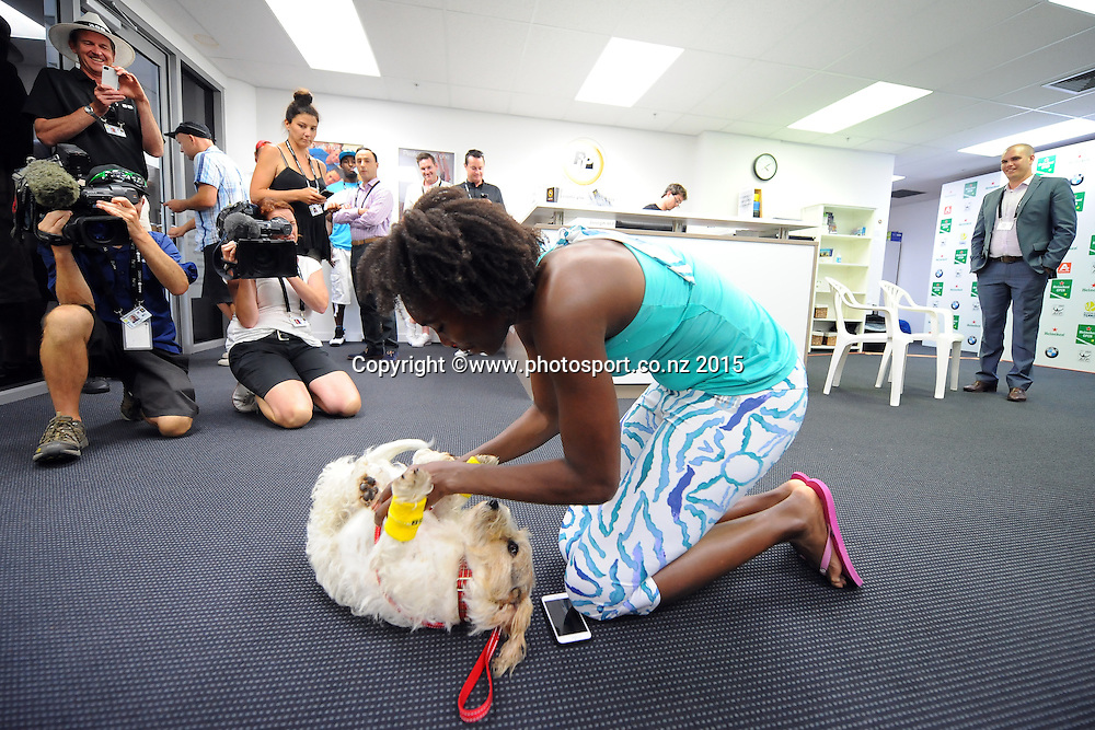 American Venus Williams with a friendly ASB Bank ball dog on Day 3 of the ASB Classic Women's International. ASB Tennis Centre, Auckland, New Zealand. Wednesday 7 January 2015. Copyright photo: Chris Symes/www.photosport.co.nz