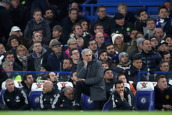 Manchester United manager Jose Mourinho during the Premier League match at Stamford Bridge, London.