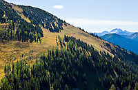 The Pacific Crest Trail winding up a Autumn mountainside just North of Harts Pass in the Washington Cascade range, USA.