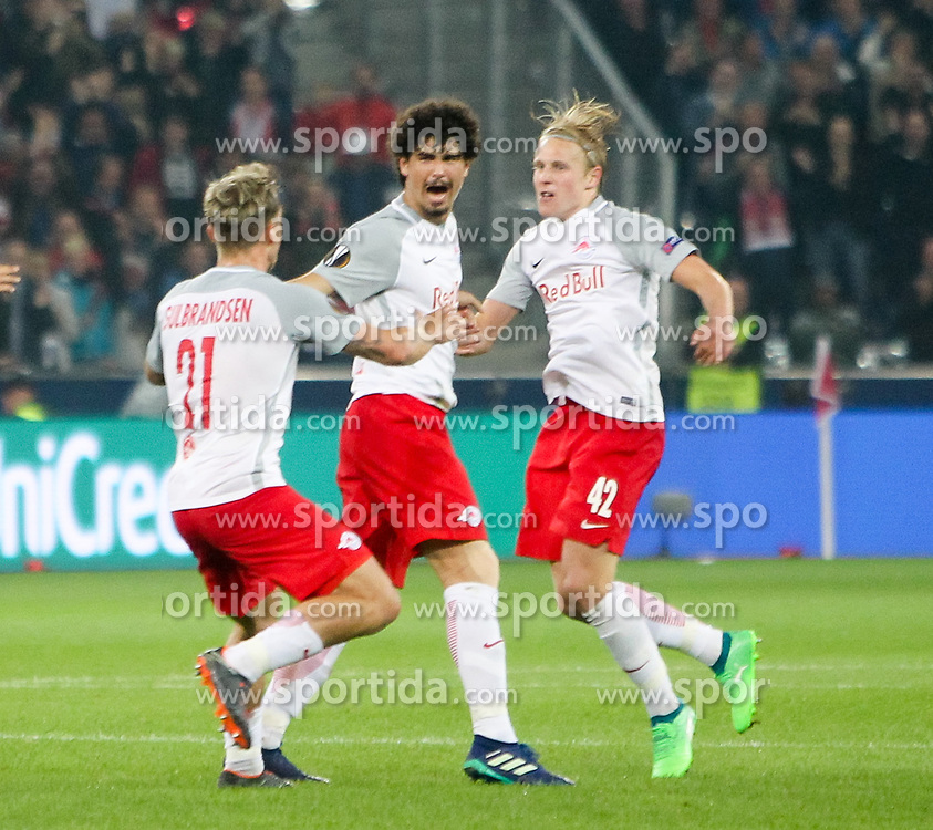 03.05.2018, Red Bull Arena, Salzburg, AUT, UEFA EL, FC Salzburg vs Olympique Marseille, Halbfinale, Rueckspiel, im Bild Jubel zum 2:0 durch Xaver Schlager (FC Salzburg)// during the UEFA Europa League Semifinal, 2nd Leg Match between FC Salzburg and Olympique Marseille at the Red Bull Arena in Salzburg, Austria on 2018/05/03. EXPA Pictures © 2018, PhotoCredit: EXPA/ Roland Hackl