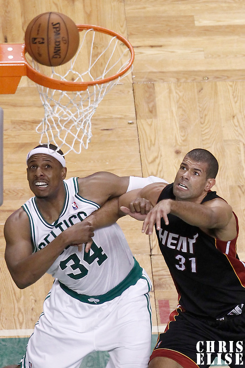01 June 2012: Boston Celtics small forward Paul Pierce (34) vies for the rebound with Miami Heat small forward Shane Battier (31) during the second half of Game 3 of the Eastern Conference Finals playoff series, Heat vs Celtics, at the TD Banknorth Garden, Boston, Massachusetts, USA.