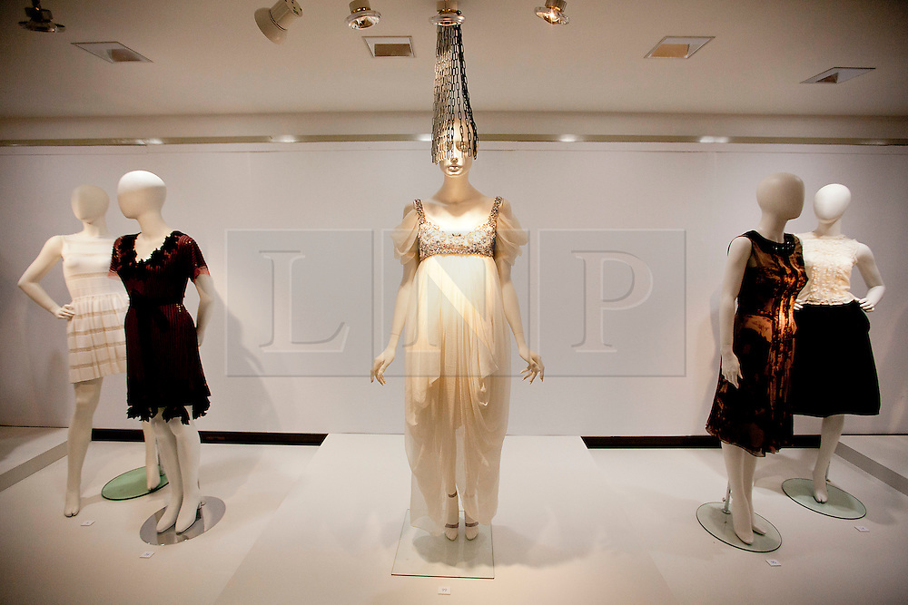 © Licensed to London News Pictures. 21/06/2012. LONDON, UK. An Alexander McQueen dress (Est: £15,000-20,000) designed for fashion muse Daphne Guinness by the late fashion designer is seen at Christies South Kensington Auction House in London today (21/0612) ahead of a charity auction.  The auction, held in aid of The Isabella Blow Foundation, features 102 lots of shoes, clothes and photographs from Daphne Guinness's private collection and is expected to realise in the region of £100,000 when it takes place on the evening of the 27th of June. Photo credit: Matt Cetti-Roberts/LNP
