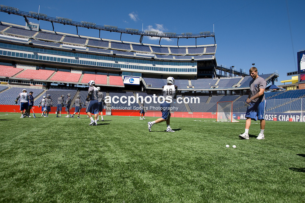 23 May 2008: Duke Blue Devils during a practice at Gillette Stadium a day before the NCAA Semifinals in Foxborough, MA.