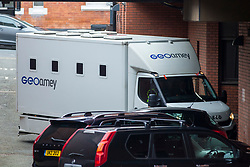 © Licensed to London News Pictures. 04/05/2018. Leeds UK. Picture shows a prison van arriving at Leeds Crown Court this morning where two 15 year old boys who cannot be named are on trial for conspiracy to murder. They allegedly planned to attack a school in Northallerton in North Yorkshire. It is alleged the pair intended to shoot & kill other pupils & teachers against whom they held a grievance. Prosecutors allege the pair hero-worshiped two students who killed 12 pupils & a teacher at Columbine High School in Colorado USA in 1999.  Photo credit: Andrew McCaren/LNP