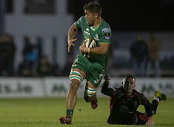 November 3, 2018 - Galway, Ireland - Jarrad Butler of Connacht caught by shirt by Jason Tovey of Dragons during the Guinness PRO14 match between Connacht Rugby and Dragons at the Sportsground in Galway, Ireland on November 3, 2018  (Credit Image: © Andrew Surma/NurPhoto via ZUMA Press)