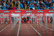Pascal MARTINOT-LAGARDE of France on his marks in the Men's 110m Hurdles Final during the Muller Grand Prix 2018 at Alexander Stadium, Birmingham, United Kingdom on 18 August 2018. Picture by Toyin Oshodi.