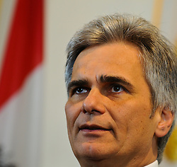 13.04.2011, Bundeskanzleramt, Wien, AUT, Stellungnahme Bundeskanzler wegen Rücktritt Josef Proells, im Bild Bundeskanzler Werner Faymann // during Press Conference about recession of minister of finance Josef Proell, AUT, Vienna, Federal Chancellery, 04-13-2011,  EXPA Pictures © 2011, PhotoCredit: EXPA/ M. Gruber