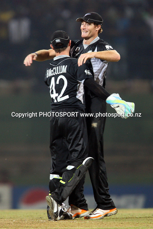 Brendon McCullum and Martin Guptill celebrate. ICC Cricket World Cup. New Zealand vs Paksitan. Pallekele Cricket Stadium, Kandy, Sri Lanka. Tuesday 8 March 2011. Photo: photosport.co.nz