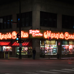 Margies Candies at Western Avenue and Armitage, Chicago, Illinois, USA.