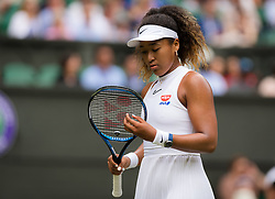 July 1, 2019 - London, GREAT BRITAIN - Naomi Osaka of Japan in action during the first round of the 2019 Wimbledon Championships Grand Slam Tennis Tournament against Yulia Putintseva of Kazakhstan (Credit Image: © AFP7 via ZUMA Wire)