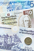 Scottish banknotes from The Royal Bank of Scotland £5, £10, £20, and  £1 coin