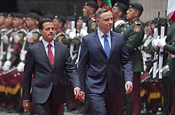 April 24, 2017 - Mexico, Ciudad De Mexico, MEXICO - Monday April 24, 2017. President of Mexico, Enrique Pena Nieto held a reception ceremony for Andrzej Duda, president of Poland at the Palacio National in Mexico City. (Credit Image: © Prensa Internacional via ZUMA Wire)
