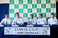 (L-R) Radoslaw Szymanik - captain national team & Jerzy Janowicz & Michal Przysiezny & Marcin Matkowski & Mariusz Fyrstenberg all from Poland while press conference three days before the BNP Paribas Davis Cup 2014 between Poland and Croatia at Torwar Hall in Warsaw on April 1, 2014.<br /> <br /> Poland, Warsaw, April 1, 2014<br /> <br /> Picture also available in RAW (NEF) or TIFF format on special request.<br /> <br /> For editorial use only. Any commercial or promotional use requires permission.<br /> <br /> Mandatory credit:<br /> Photo by © Adam Nurkiewicz / Mediasport