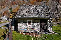 Little stone cottage at the end of Valle Verzasca in Ticino, Southern Switzerland.