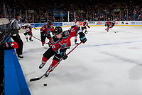 KELOWNA, CANADA - OCTOBER 28: Kole Lind #16 of the Kelowna Rockets skates with the puck from the boards during second period against the Prince George Cougars on October 28, 2017 at Prospera Place in Kelowna, British Columbia, Canada.  (Photo by Marissa Baecker/Shoot the Breeze)  *** Local Caption ***