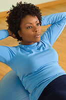 Woman Doing Sit-Ups With Exercise Ball