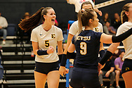 October 31, 2018 - Johnson City, Tennessee - Brooks Gym: ETSU middle blocker Kaela Massey (5)<br /> <br /> Image Credit: Dakota Hamilton/ETSU