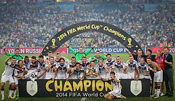 Seleção da Alemanha comemoram a conquista da Copa do Mundo 2014, no estádio Maracanã, no Rio de Janeiro. FOTO: Jefferson Bernardes/Agência Preview