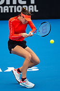 SYDNEY, NSW - JANUARY 07: Ajla Tomljanovic (AUS) hits a backhand at The Sydney International Tennis on January 07, 2018, at Sydney Olympic Park Tennis Centre in Homebush, Australia. (Photo by Speed Media/Icon Sportswire)