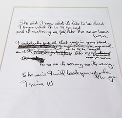 """© Licensed to London News Pictures. 22/05/2013. London, UK. The original lyrics to the Beatles song 'She Said She Said' are seen after being presented to the British Library by Beatles biographer Hunter Davies in London today (22/05/2013). The manuscript, along with others and correspondence between John Lennon and Mr Davies, have been donated to the library under the """"lifetime giving"""" scheme. Photo credit: Matt Cetti-Roberts/LNPPhoto credit: Matt Cetti-Roberts/LNP"""