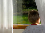 19 month old Talus Book watches out the window as his Dad leaves for work.