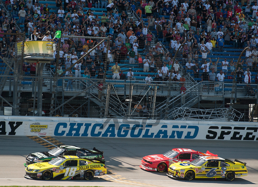 Joliet, IL - SEP 15, 2012:  The NASCAR Nationwide Series teams take to the track fro the Dollar General 300 at Chicagoland Speedway in Joliet, IL.