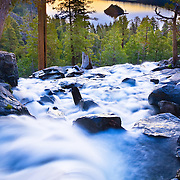 Eagle Falls at Emerald Bay, Lake Tahoe. A long exposure creaes the silky, blurred water.