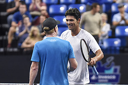 October 4, 2018 - St. Louis, Missouri, U.S - MARK PHILIPPOUSSIS and JIM COURIER shake hands after their match during the Invest Series True Champions Classic on Thursday, October 4, 2018, held at The Chaifetz Arena in St. Louis, MO (Photo credit Richard Ulreich / ZUMA Press) (Credit Image: © Richard Ulreich/ZUMA Wire)