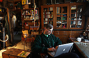 English/work program teacher Jack Kruse online in his office at the Mountain School