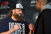 DALLAS, TX - MARCH 12:  Roy Nelson faces off with Alistair Overeem during the UFC 185 Ultimate Media Day at the American Airlines Center on March 12, 2015 in Dallas, Texas. (Photo by Cooper Neill/Zuffa LLC/Zuffa LLC via Getty Images) *** Local Caption *** Roy Nelson; Alistair Overeem