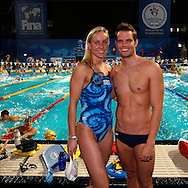 Jessica HARDY of the United States of America (USA) and Dominik MEICHTRY of Switzerland pose for a photo during a training session one day prior to the start of the 11th Fina World Short Course Swimming Championships held at the Sinan Erdem Arena in Istanbul, Turkey, Tuesday, Dec. 11, 2012. (Photo by Patrick B. Kraemer / MAGICPBK)