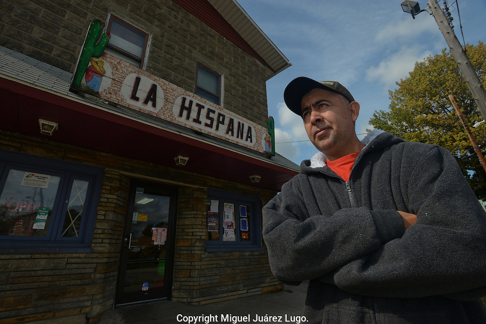 PAINESVILLE, OH - OCT 15, 2012. Pascual Rodriguez, 44, arrived to this town in 1985 from Leon, Guanajuato. He became a US citizen in 1996 and voted for Gore and Obama, and is planning to vote again for Obama this year. He founded the first Hispanic supermarket in the region and employees 5 people. (Photo by Miguel Juárez Lugo)