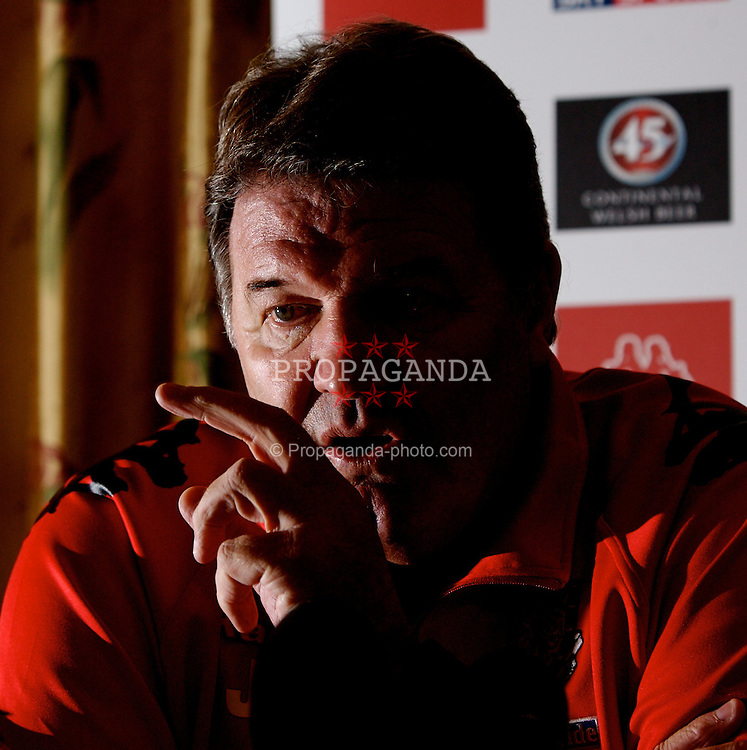 CHESTER, ENGLAND - Monday, February 4, 2008: Wales' manager John Toshack during a press conference at the Carden Park Hotel ahead of their friendly match against Norway. (Photo by David Rawcliffe/Propaganda)