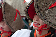 Japanese women in traditional straw hats dance during the 9th Annual Hamamatsu Dance festival. Hamamatsu, Shizuoka, Japan March 21st 2009