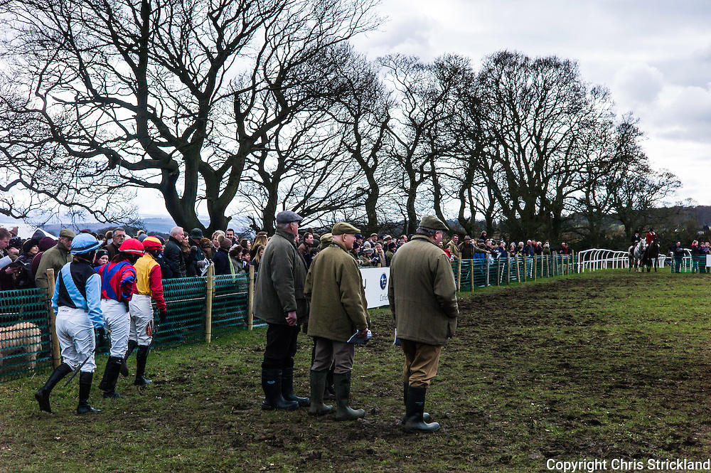 Corbridge, Northumberland, England, UK. 28th February 2016. Jockeys enter the paddock to collect their rides at the Tynedale Hunt Point to Point horse racing fixture.