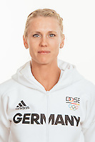 Carla Borger poses at a photocall during the preparations for the Olympic Games in Rio at the Emmich Cambrai Barracks in Hanover, Germany, taken on 18/07/16   usage worldwide
