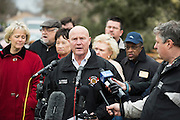 Garland Fire Chief Raymond Knight speaks during a press conference in the neighborhood where homes were hit by a tornado two days earlier in Garland, Texas on December 28, 2015. (Cooper Neill for The New York Times)