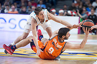 Real Madrid Jaycee Carroll and Valencia Basket Sam Van Rosso during Turkish Airlines Euroleague match between Real Madrid and Valencia Basket at Wizink Center in Madrid, Spain. December 19, 2017. (ALTERPHOTOS/Borja B.Hojas)