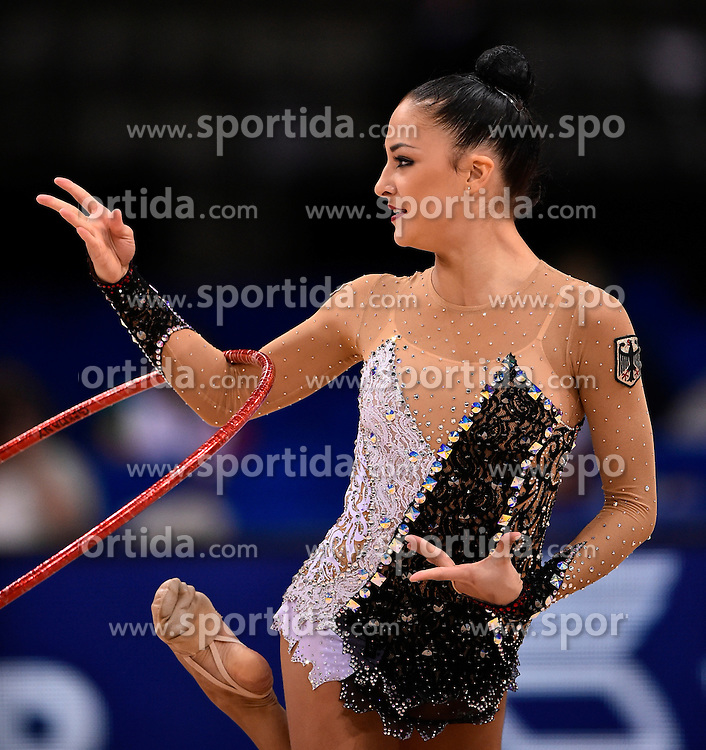 08.09.2015, Porsche Arena, Stuttgart, GER, Gymnastik WM, Gruppe D, im Bild Jana Berezko-Marggrander (GER) Reifen // during the World Rhythmic Gymnastics Championships at the Porsche Arena in Stuttgart, Germany on 2015/09/08. EXPA Pictures &copy; 2015, PhotoCredit: EXPA/ Eibner-Pressefoto/ Weber<br /> <br /> *****ATTENTION - OUT of GER*****