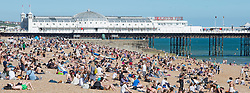 © Licensed to London News Pictures. 25/05/2017. Brighton, UK. Members of the public take to the beach in Brighton and Hove on the hottest day of the year so far. Photo credit: Hugo Michiels/LNP