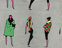 Color illustration of women dressed in different modern styles.