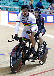 Matt Rotherham (left) and Neil Fachie after the Paracycling BVI Time Trial, during day one of the HSBC UK National Track Championships at The National Cycling Centre, Manchester.