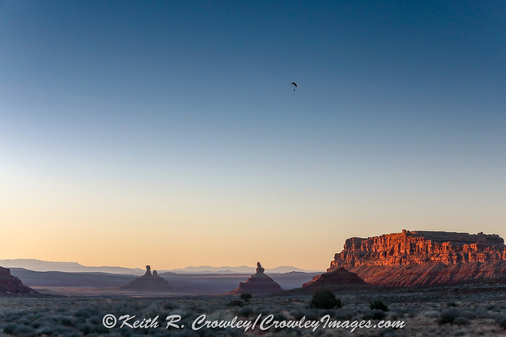 Powered paragliding  near Monument Valley on the Utah Arizona Border