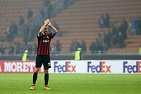 Milano - 19.10.2017 - Milan-AEK Atene - Europa League   - nella foto:  Leonardo Bonucci saluta i tifosi delusi a fine partita