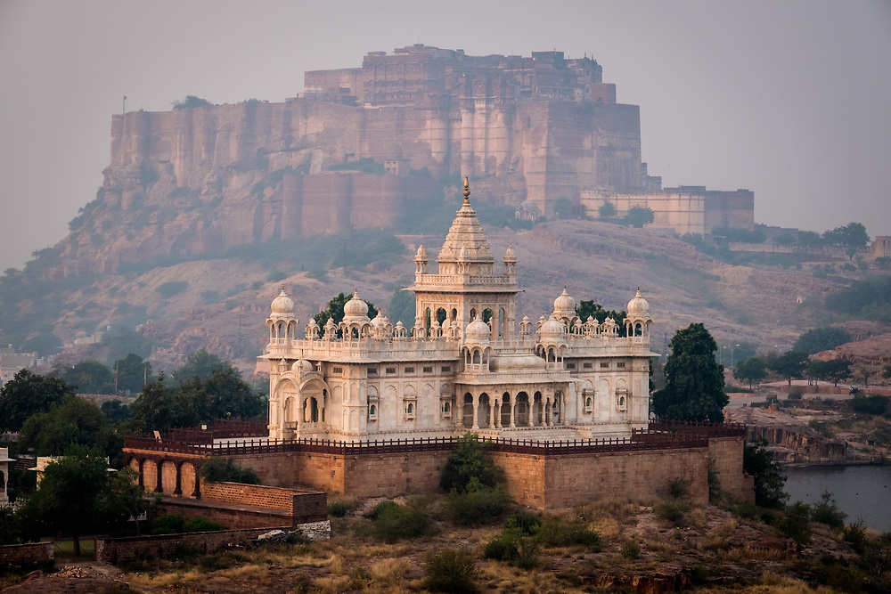 JODHPUR, INDIA - CIRCA NOVEMBER 2016:  Jaswant Thada Memorial and the Mehrangarh Fort in Jodphur
