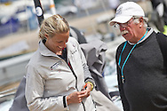 ENGLAND, Weymouth. 9th August 2011. Pre Olympic Test Event. Saskia Clark, crew of GBR 470 dinghy, chats with ISAF official  Peter Reggio.