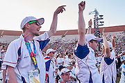 SO Great Britain Team while Closing Ceremony of the Special Olympics World Games Los Angeles 2015 at the Los Angeles Coliseum Stadium on ninth day, August 2, 2015 in Los Angeles, USA.<br /> <br /> USA, Los Angeles, August 2, 2015<br /> <br /> Picture also available in RAW (NEF) or TIFF format on special request.<br /> <br /> For editorial use only. Any commercial or promotional use requires permission.<br /> <br /> Adam Nurkiewicz declares that he has no rights to the image of people at the photographs of his authorship.<br /> <br /> Mandatory credit:<br /> Photo by &copy; Adam Nurkiewicz / Mediasport