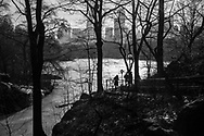 The Ramble with a hazy mid-Manhattan skyline seen over The Lake in Central Park